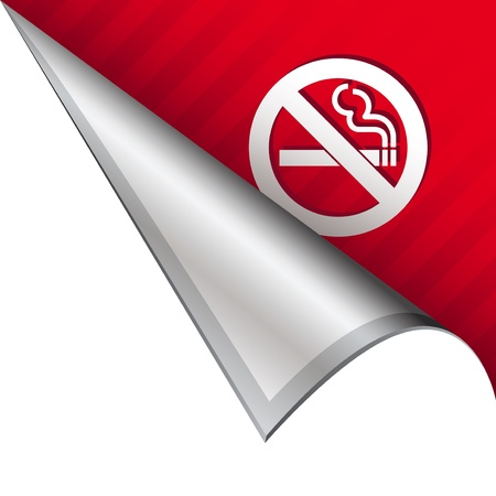 No smoking icon on vector peeled corner tab suitable for use in print, on websites, or in advertising materials  photo