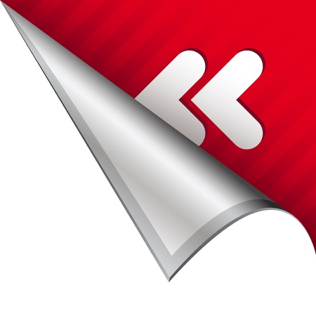 Reverse or rewind media player icon on vector peeled corner tab suitable for use in print, on websites, or in advertising materials