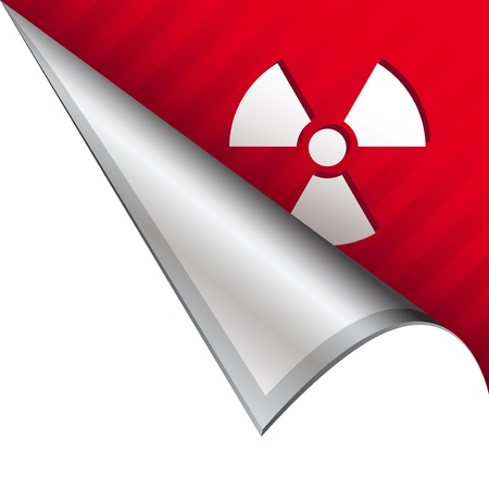 Radiation hazard icon on vector peeled corner tab suitable for use in print, on websites, or in advertising materials   photo