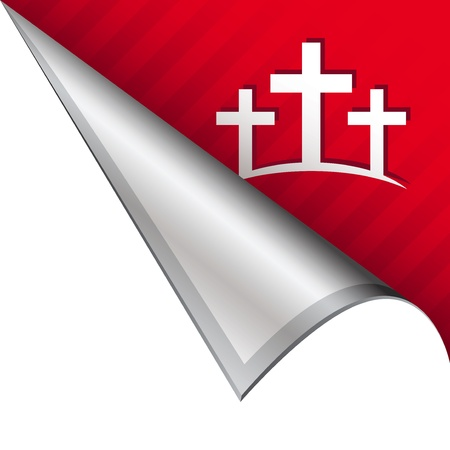 christian worship: Calgary Christian crosses icon on vector peeled corner tab suitable for use in print, on websites, or in advertising materials