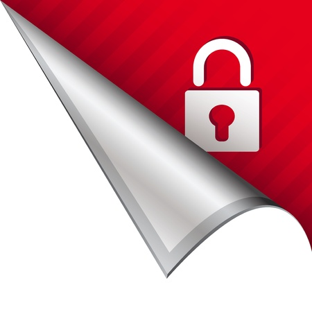 Secure or lock icon on vector peeled corner tab suitable for use in print, on websites, or in advertising materials