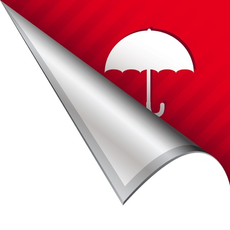 Umbrella weather or protection icon on vector peeled corner tab suitable for use in print, on websites, or in advertising materials   Stock Photo - 14707305