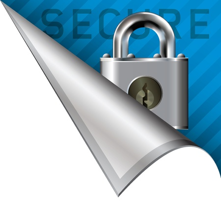 Secure or lock icon on vector peeled corner tab suitable for use in print, on websites, or in advertising materials Stock Photo - 14706855