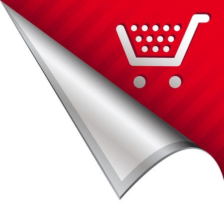 reveal: Shopping cart icon on vector peeled corner tab suitable for use in print, on websites, or in advertising materials  Stock Photo
