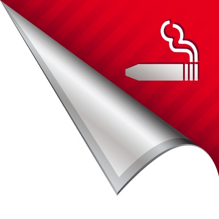 cigar shape: Cigar smoking icon on vector peeled corner tab suitable for use in print, on websites, or in advertising materials