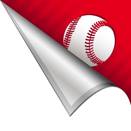 Baseball sports icon on vector peeled corner tab suitable for use in print, on websites, or in advertising materials  photo