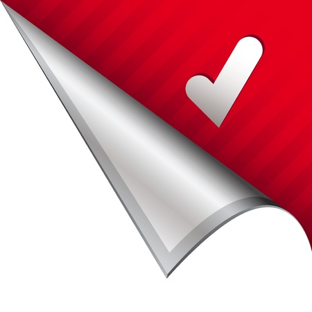 Check mark or approval icon on vector peeled corner tab suitable for use in print, on websites, or in advertising materials