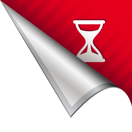 Hourglass or timer icon on vector peeled corner tab suitable for use in print, on websites, or in advertising materials