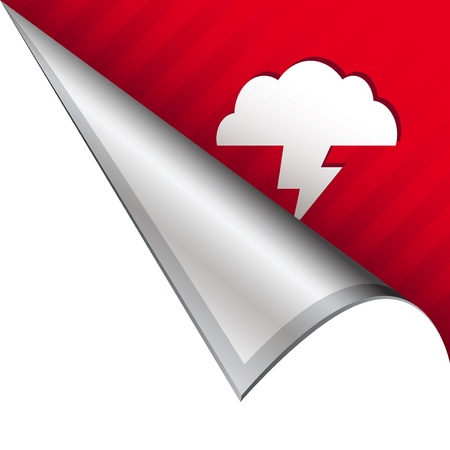 Lightning or storm weather icon on vector peeled corner tab suitable for use in print, on websites, or in advertising materials   photo