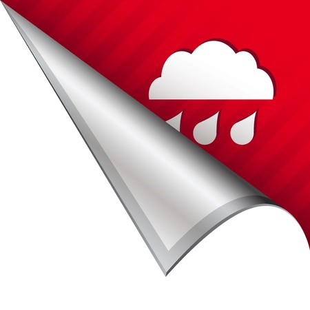 Rain weather icon on vector peeled corner tab suitable for use in print, on websites, or in advertising materials  photo
