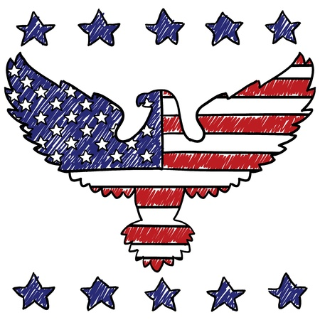 eagle: Doodle style patriotic American eagle illustration in vector format   Stock Photo
