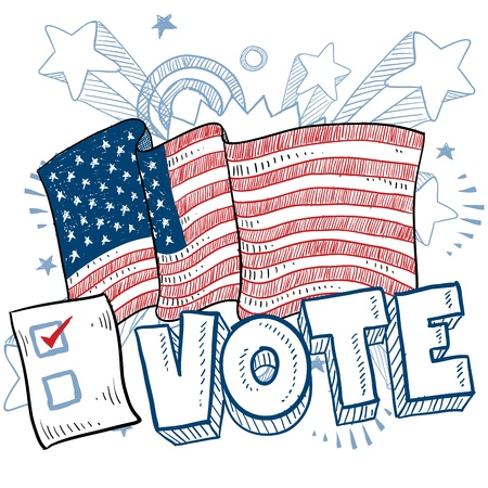 congress: Doodle style vote in the election with american flag and check box illustration in vector format   Stock Photo