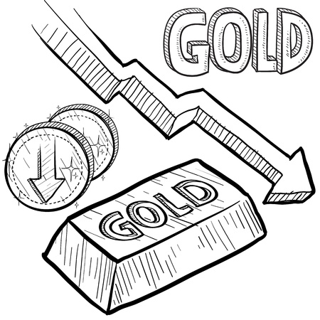 devaluation: Doodle style Gold precious metal value symbol with down arrow indication lowering price or deflation  Vector file includes arrow, title, coin symbol with down arrow, and ingot with title