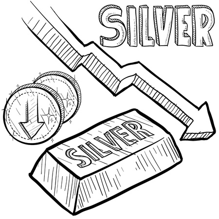 devaluation: Doodle style Silver precious metal value symbol with down arrow indication lowering price or deflation  Vector file includes arrow, title, coin symbol with down arrow, and ingot with title