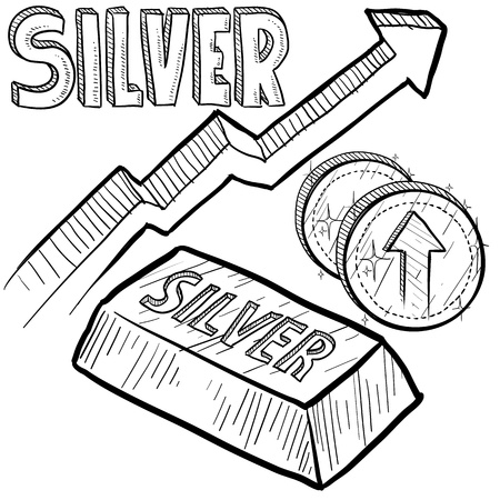 silver coins: Doodle style Silver precious metal value symbol with up arrow indicating increasing price or inflation  Vector file includes arrow, title, coin symbol with up arrow, and ingot with title