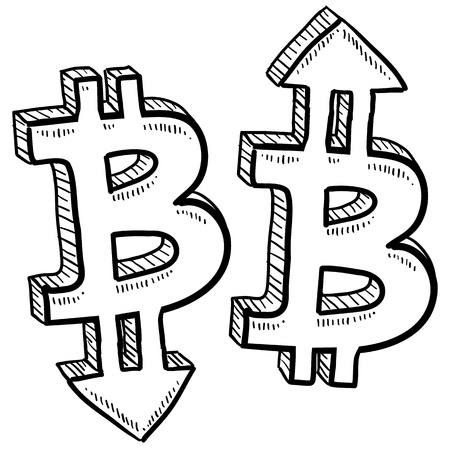 indicate: Doodle style Bitcoin digital currency symbol with arrows up and down to indicate inflation, deflation, evaluation, or devaluation as economic indicators  Vector format