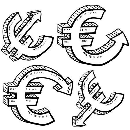 evaluating: Doodle style international currency symbol with arrows up and down to indicate inflation, deflation, evaluation, or devaluation as economic indicators  Vector format