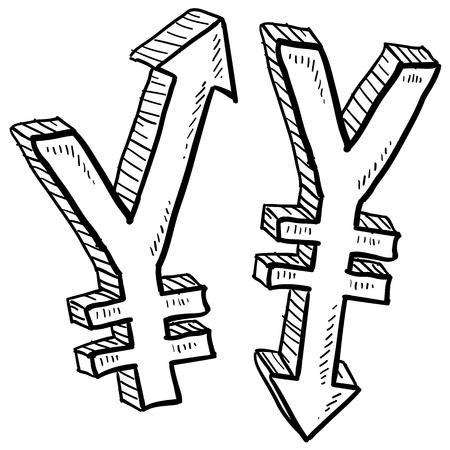 indicate: Doodle style Japanese Yen international currency symbol with arrows up and down to indicate inflation, deflation, evaluation, or devaluation as economic indicators  Vector format