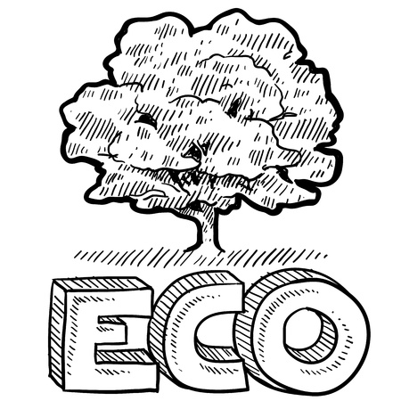 environmentalism: Doodle style Eco, Nature, or Environmentalism icon with tree and text in vector format   Stock Photo