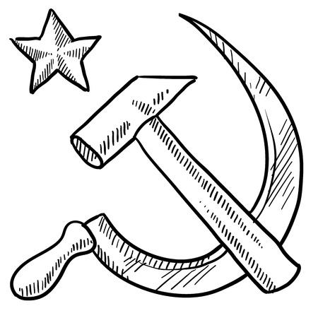 Doodle style communiste de marteau et de faucille emblème illustration au format vectoriel Banque d'images - 15855965