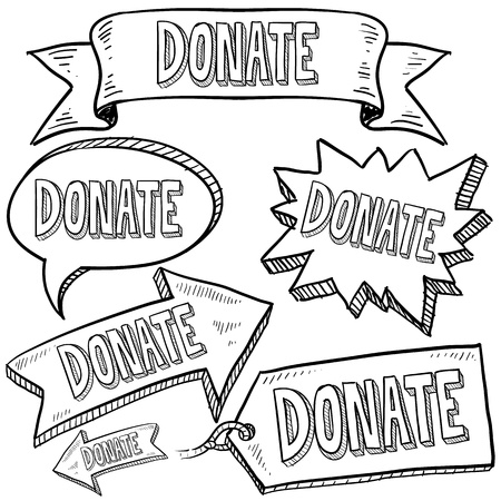 nonprofit: Doodle style Donate message tags, labels, banners and arrows in vector format  Can be used as an overlay, as background, or for a sticker effect on web or print materials   Stock Photo