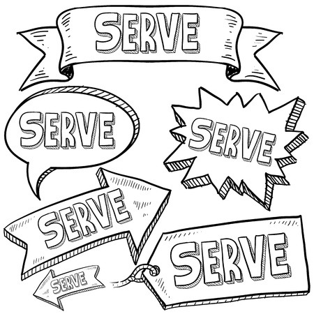 serve: Doodle style Serve or volunteer message tags, labels, banners and arrows in vector format  Can be used as an overlay, as background, or for a sticker effect on web or print materials