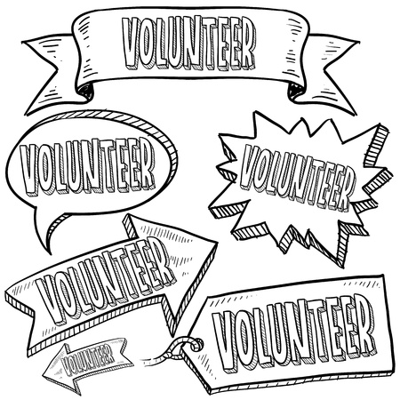 Doodle style Volunteer message tags, labels, banners and arrows in vector format  Can be used as an overlay, as background, or for a sticker effect on web or print materials