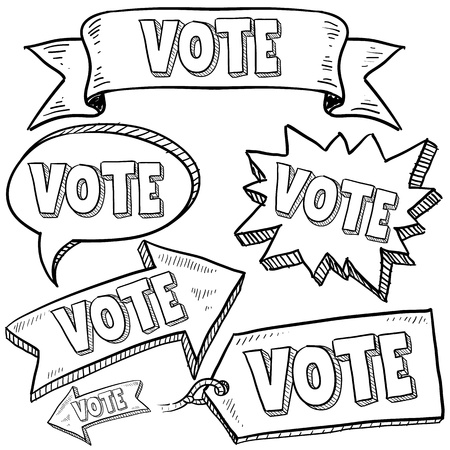 congresses: Doodle style vote in the election banners and tags illustration in vector format