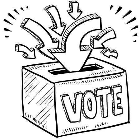 slogan: Votaci�n Doodle estilo de la caja voto en la elecci�n ilustraci�n en formato vectorial