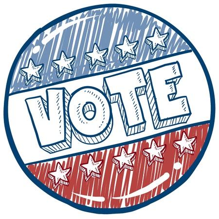 Vote de style Doodle dans l'illustration bouton campagne électorale en format vectoriel