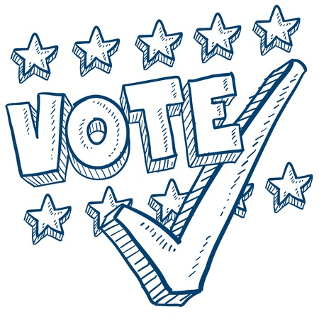 civic: Doodle style vote in the election with check mark illustration in vector format   Stock Photo