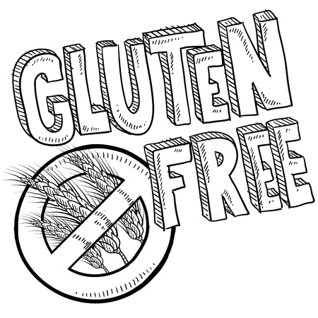 Doodle style illustration of a gluten free food or product label  Includes no wheat or grain symbol and lettering  Vector format