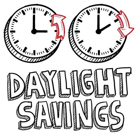 el tiempo: Ejemplo del estilo del Doodle de horario de verano, incluyendo los relojes en movimiento hacia adelante y hacia atrás para ilustrar el cambio de hora en formato vectorial Foto de archivo