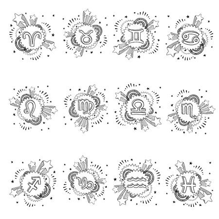 Doodle style pop astrology symbol sketch  Set includes Cancer, Capricorn, Aries, Pisces, Gemini, Aquarius, Sagittarius, Leo, Virgo, Libra, Taurus, Scorpio  Vector format   Stock fotó