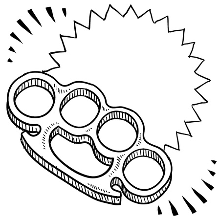 martial law: Doodle style brass knuckles weapon illustration with movement marks  Vector format   Stock Photo