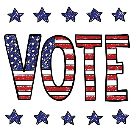 gop: Doodle style Vote in the election message sketch overlaid with the American flag in vector format