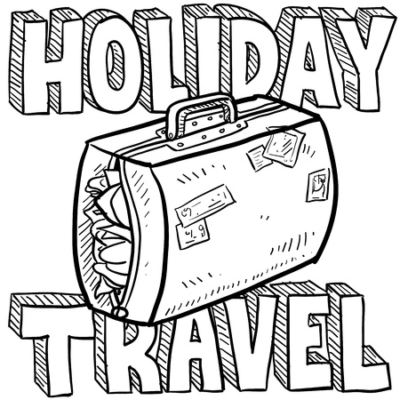 Doodle style holiday travel illustration with overstuffed suitcase and text message  Vector format