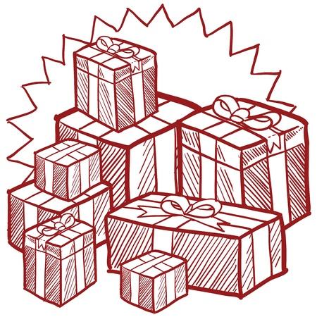 Doodle stile natalizio e Vacanza presenta illustrazione in formato vettoriale Archivio Fotografico - 16566821