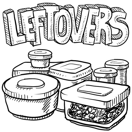 Doodle style leftovers in plastic containers illustration from holiday meals and text message  Vector format
