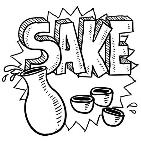 japanese sake: Doodle estilo japonés arroz sake ilustración vino con decantador y las copas, junto con el texto del mensaje en formato vectorial Foto de archivo