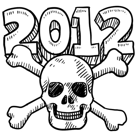 Doodle style Goodbye 2012 New Year s Eve sketch in format  Includes 2012 text and skull and crossbones   photo
