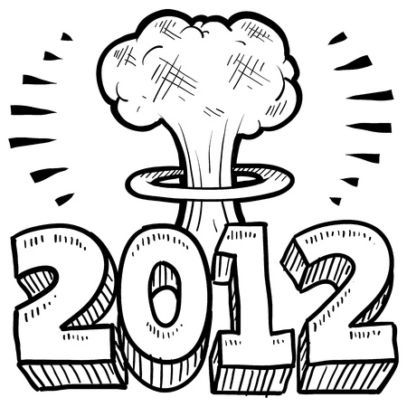 new year s eve: Doodle style Goodbye 2012 New Year s Eve sketch in format  Includes 2012 text and cartoon mushroom cloud   Stock Photo