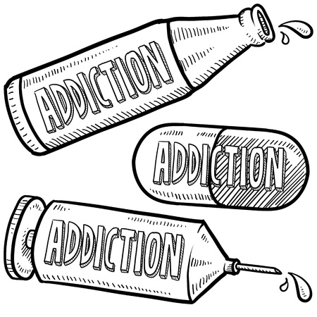 rehab: Doodle style bottle, syringe and pharmaceutical sketch with addiction text message on them  format   Stock Photo