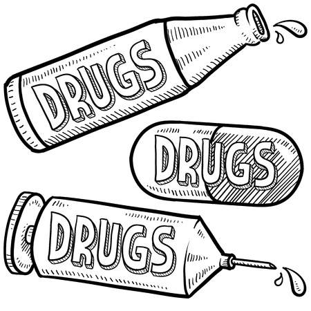 Doodle style bottle, syringe and pharmaceutical sketch with drugs text message on them  format