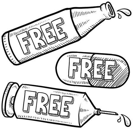Doodle style bottle, syringe and pharmaceutical sketch with free message on them to indicate being free of drugs and alcohol, or that those items are being given away  format