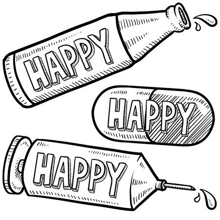 Doodle style bottle, syringe and pharmaceutical sketch with happy text message to indicate effect of various drugs and alcohol  format