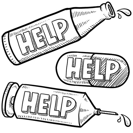 Doodle style bottle, syringe, and pill illustration with Help text message on each object  format   Imagens