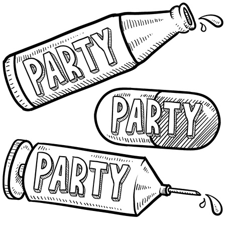 indicate: Doodle style bottle, syringe and pharmaceutical sketch with party message to indicate recreational alcohol and drug abuse  format
