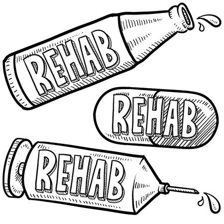 Doodle style bottle, syringe and pharmaceutical sketch with rehab message to indicate type of treatment  format   Stock Photo