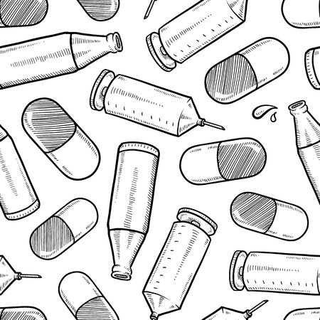 alcoholism: Doodle style substance abuse seamless background, including beer bottles, syringes, and pharmaceutical pills